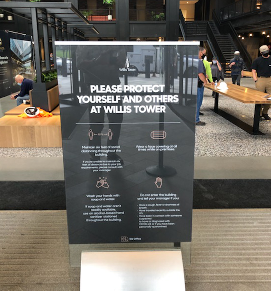 Willis Tower Social Distance Signage